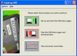 Screen 1) Start data logger, stop, view saved data
